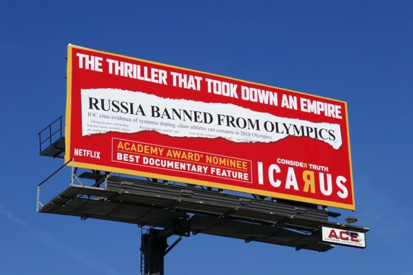 Icarus Academy Award nominee billboard