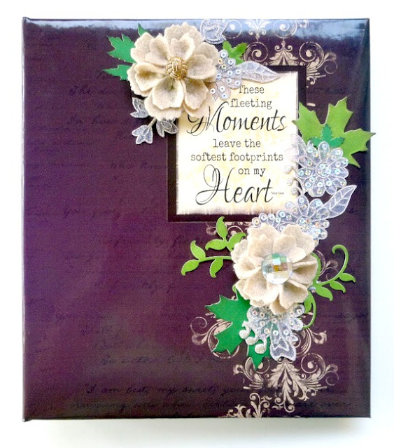 Brown Album Cover with Quote Block and Handmade Flowers