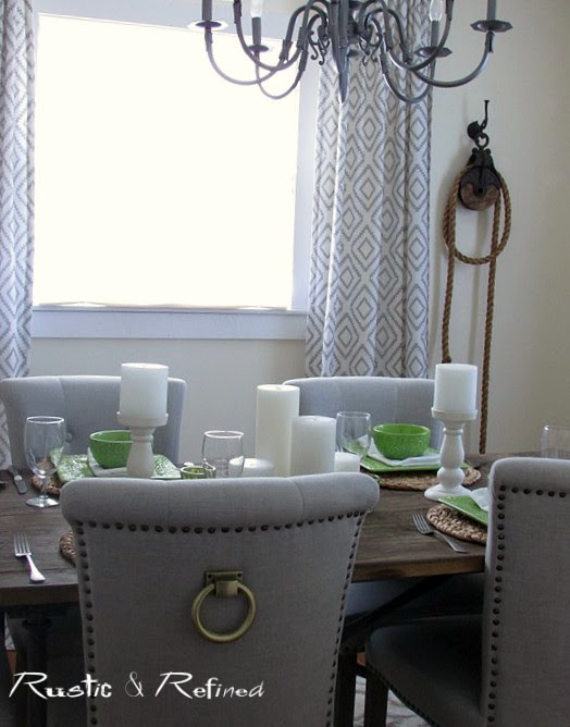 Dining room table set for summer
