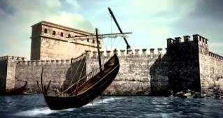 La garra de Arquímedes, levantando por los aires una embarcación romana que pretendía asaltar la fortaleza.