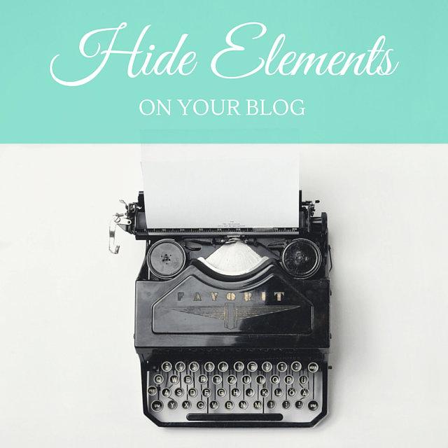Come nascondere un elemento del blog