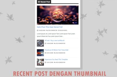 Membuat Recent Post dengan Thumbnail