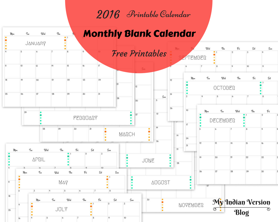 My Indian Version 2016 Yearly And Monthly Calendar Free