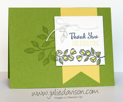 Stampin' Up! Petal Palette Thank You Card  ~ 2018 Occasions Catalog ~ Stamp of the Month Club Card Kit ~ www.juliedavison.com/clubs