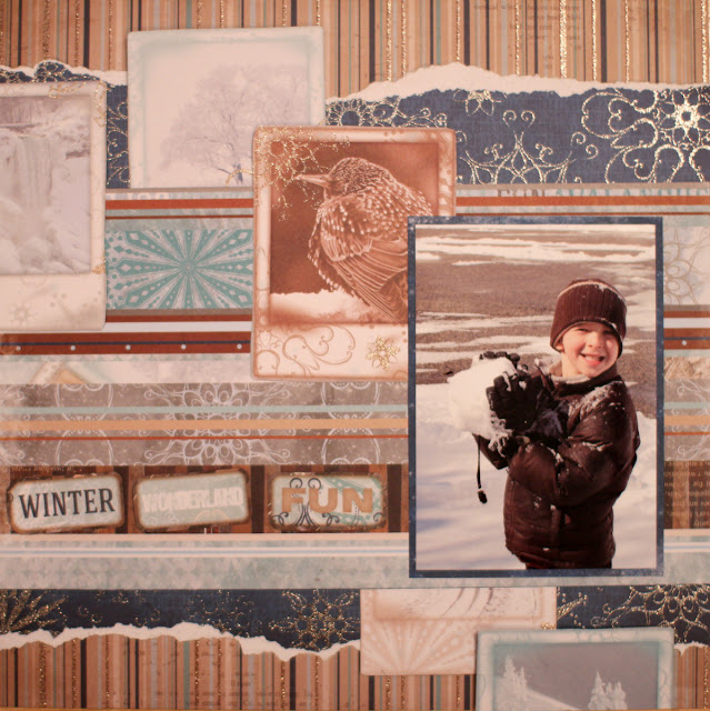 Winter Wonderland Fun Layout Three Ways by Ilene Tell using BoBunny Whiteout collection stage 2