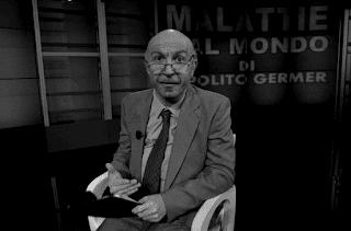 """Ippolito Germer, ospite dell'MTG nella serie televisiva """"Mario"""" di Marcello Macchia con la rubrica """"Malattie dal mondo"""", simpatica parodia di Luciano Onder."""