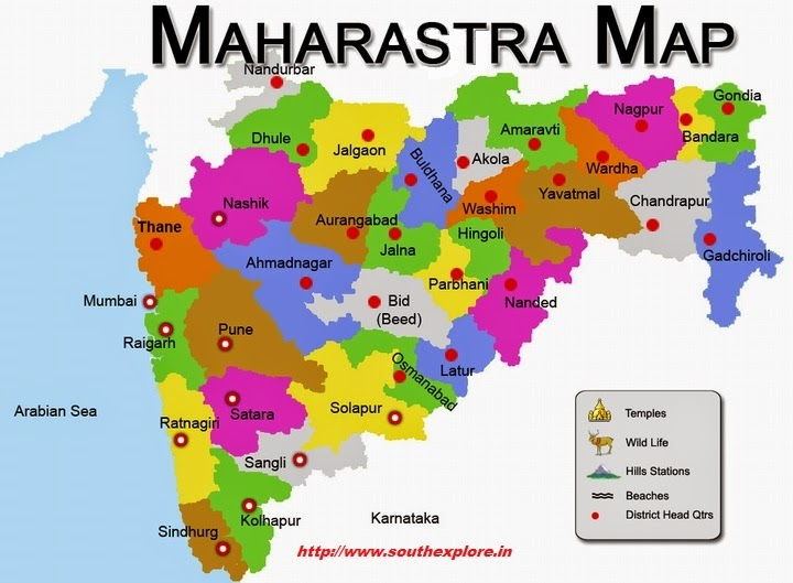 Maharashtra Tourism Map TOURIST ATTRACTIONS IN MAHARASHTRA / MAHARASHTRA TOURIST MAP