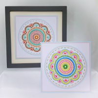 Modern geometric flower print and stitch on card embroidery with seed beads paper pricking pattern for framed wall art picture making