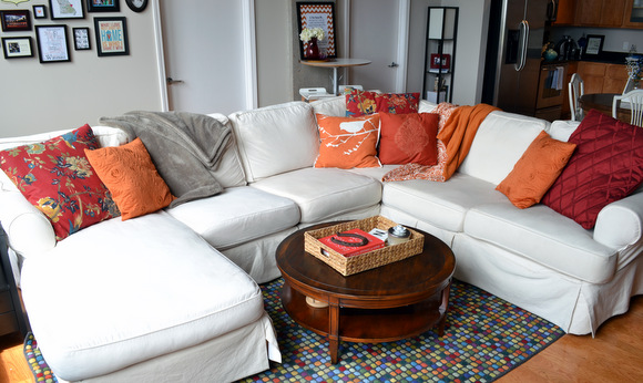 Orange and red family room