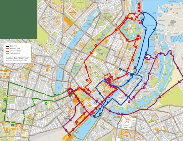 mapa lineas bus turistico copenhague