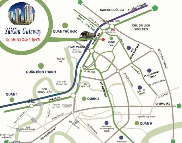 Vị trí trung tâm của căn hộ Saigon Gateway