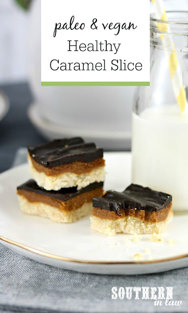 Healthy Caramel Slice Recipe - gluten free, grain free, paleo, vegan, sugar free