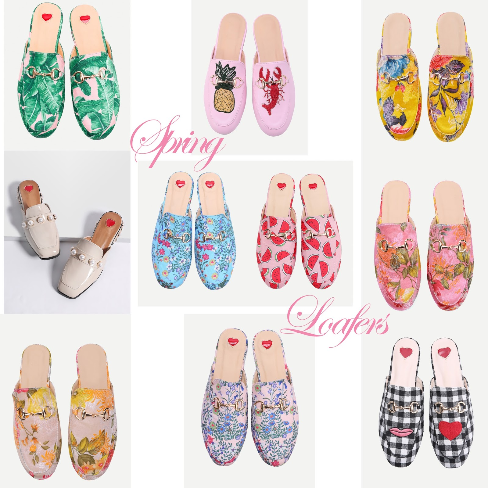 cute pineapple and pink loafers for spring