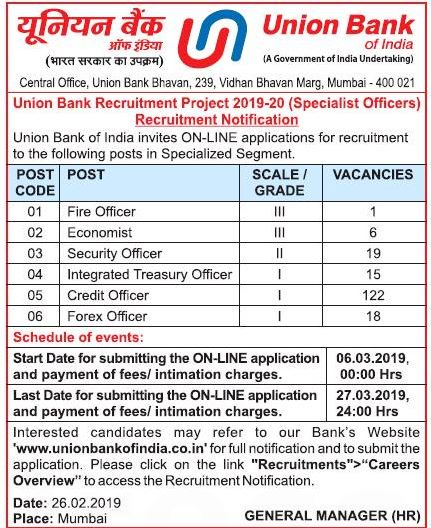 Union Bank of India Recruitment 2019 for Specialist Officer posts (181 Vacancies)