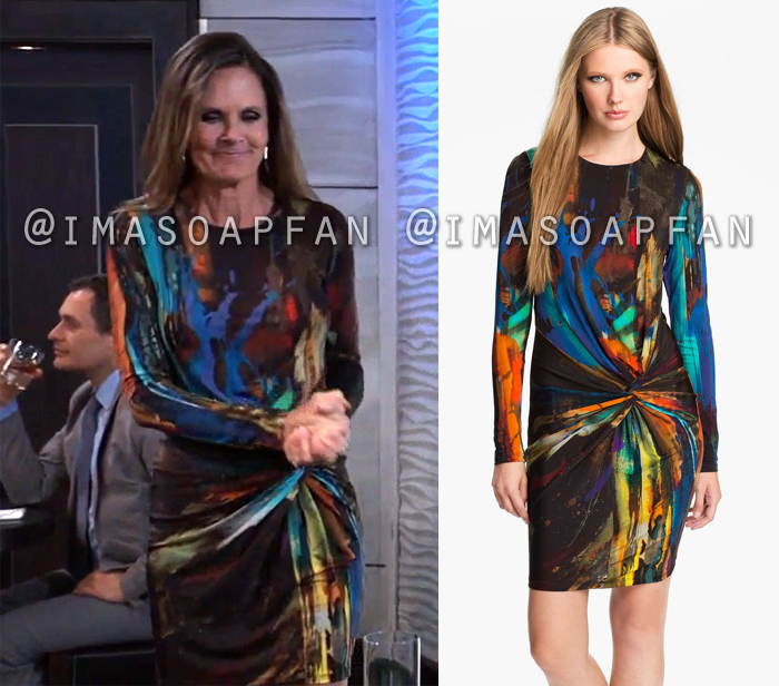Lucy Coe, Lynn Herring, Twist-Front Abstract Print Jersey Dress, Ted Baker, General Hospital, GH