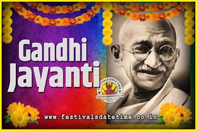 2050 Gandhi Jayanti Date and Time, 2050 Gandhi Jayanti Calendar