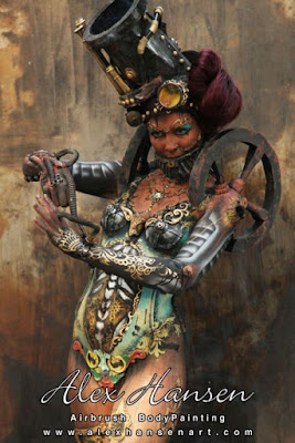 Sexy steampunk bodypainting / body makeup for women