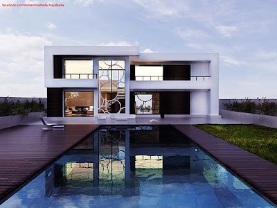 White modern house, modern house, Lottery win, House, House with pool, Lottoland