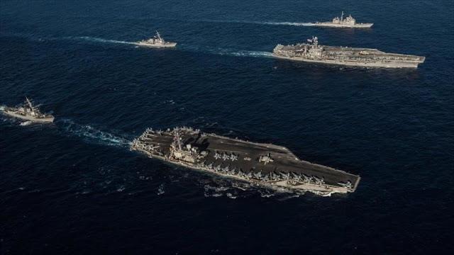 EEUU reta a China y posiciona 2 portaviones en mar de Filipinas