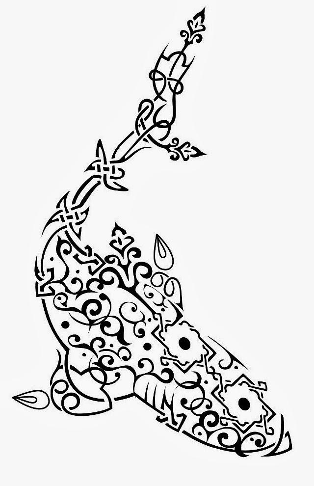 Shark vine maid Maori tattoo stencil