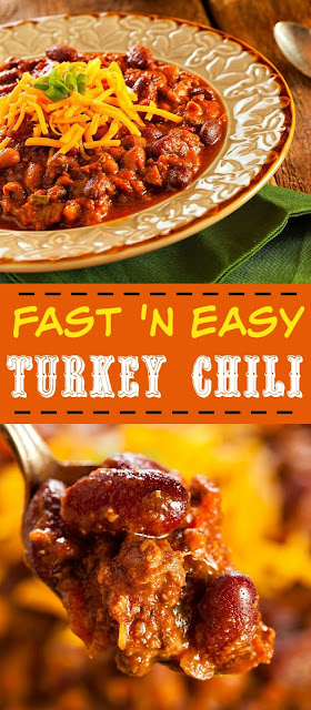 Fast and easy turkey chili recipe that can be made with turkey or beef. So easy and delicious it will be your go-to easy dinner recipe.