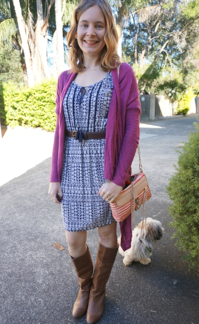 Wearing a summer boho print dress in autumn with cardigan and leather boots