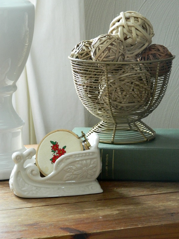Rustic Natural Christmas Home Tour 2015, Decorative Balls and Cross-stitch
