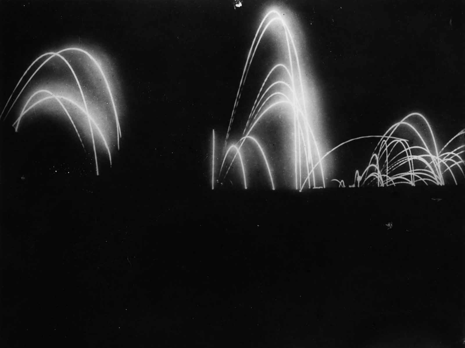 Artillery barrages light up the sky during the attack on Beaumont Hamel. July 2, 1916.