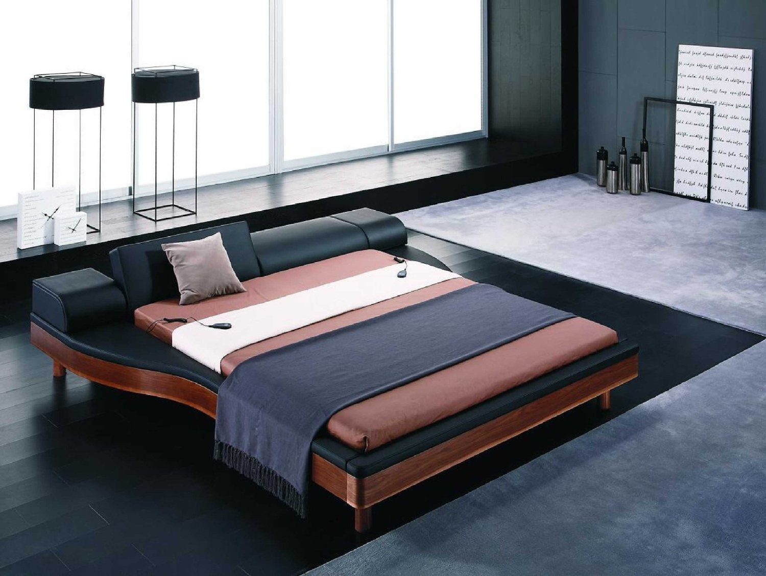 Modern Platform Bed With Integrated Nightstands
