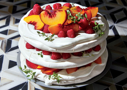 Pavlova Layer Cake With Raspberries and Peaches