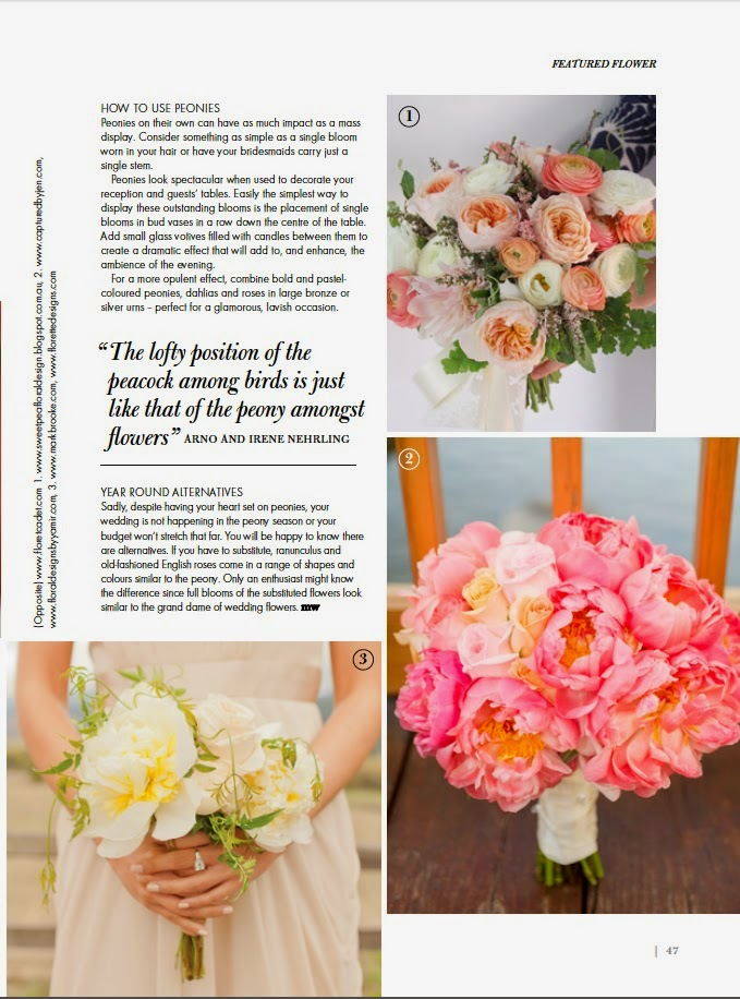 Sweet pea Floral design peony bouquet featured in modern wedding flowers magazine bridal bouquets ranunculus garden roses substitutes and alternatives to peonies english roses, full blooms styling and decor for weddings
