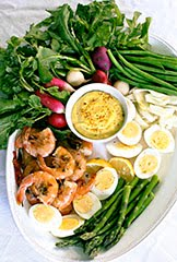 Le Grand (Saffron) Aïoli with Garlic Rosemary Shrimp, Veggie & Egg Platter