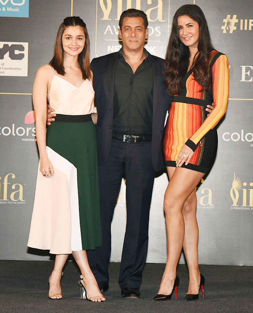 Salman Khan, Katrina Kaif and Alia Bhatt at IIFA 2017 Press Conference