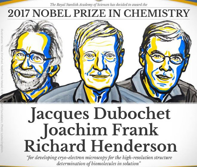 The Nobel Prize in Chemistry 2017 was awarded to Jacques Dubochet, Joachim Frank and Richard Henderson