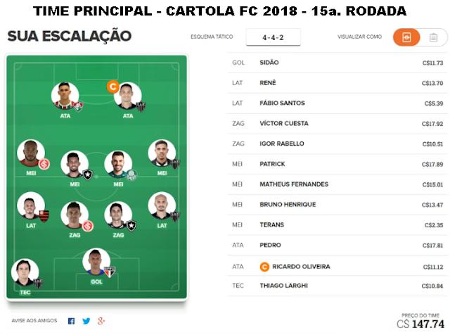 TIME PRINCIPAL - CARTOLA FC 2018 - 15a. RODADA