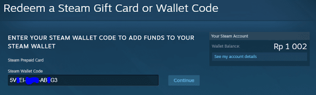 Memasukkan Steam Wallet Code