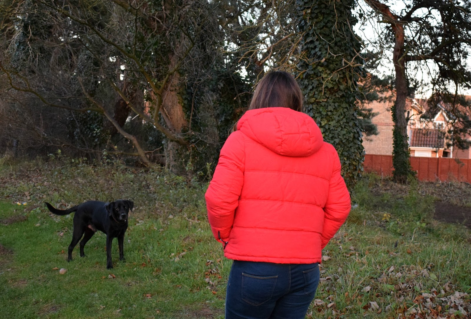 Red Puffa Jacket outfit