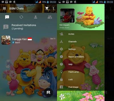 BBM Mod Transparan Tema Minnie the Pooh v3.3.0.16 Tanpa Iklan
