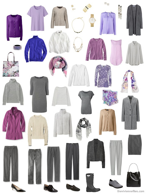A 28-piece capsule wardrobe in shades of grey, beige, and purple