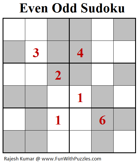 Even Odd Sudoku (Mini Sudoku Series #89)