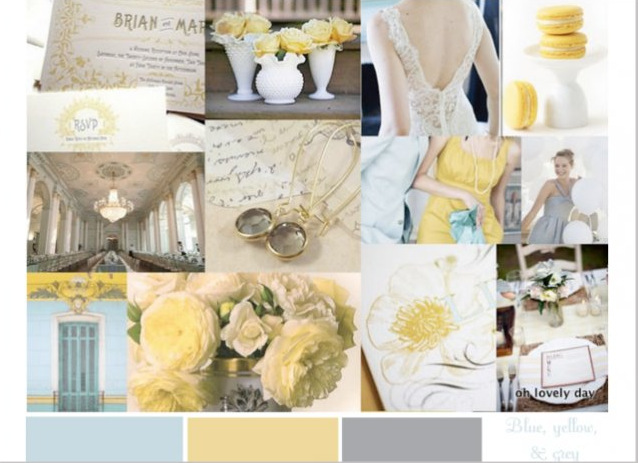 pale yellow, egg shell blue, and dove grey color palette inspiration board from oh lovely day