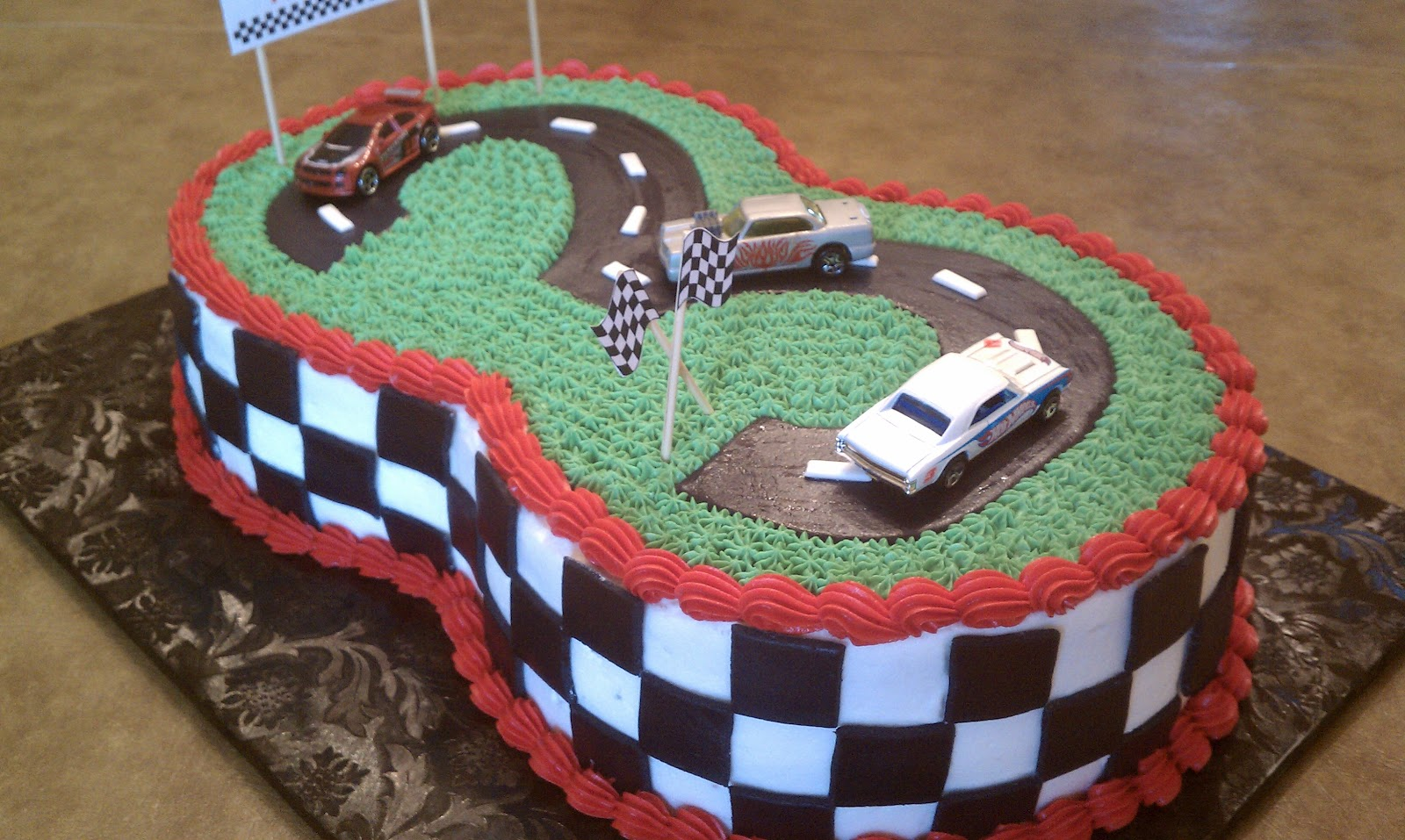 Simply Sweet Matchbox Cars 3 Racetrack Birthday Cake