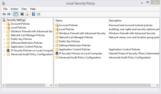 Picture of the Microsoft Windows Local Security Policy Editor Window