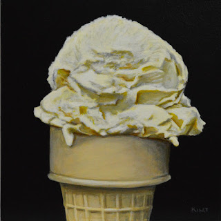 Small realist daily painting of a vanilla ice cream cone