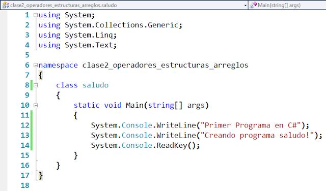Primer Ejemplo Operadores en Visual C#