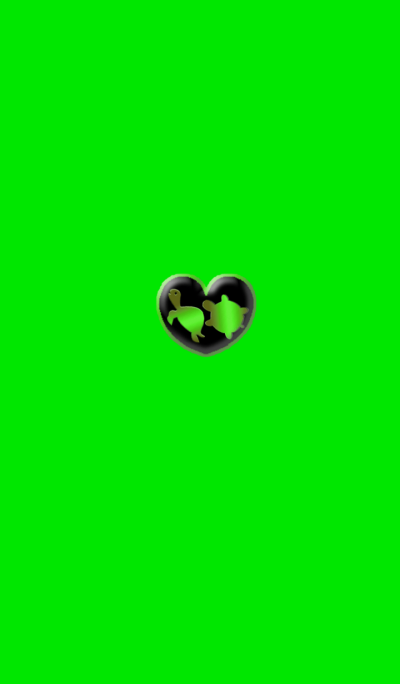 Two turtles of money luck Green heart
