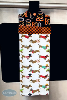 Dogs in Halloween Costumes Hanging Kitchen Towel