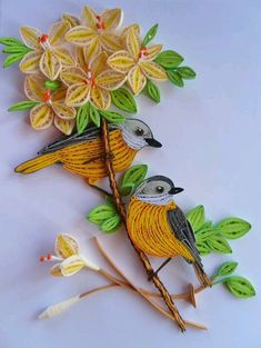 Simple birds and flower quilling bouquet designs - quillingpaperdesigns