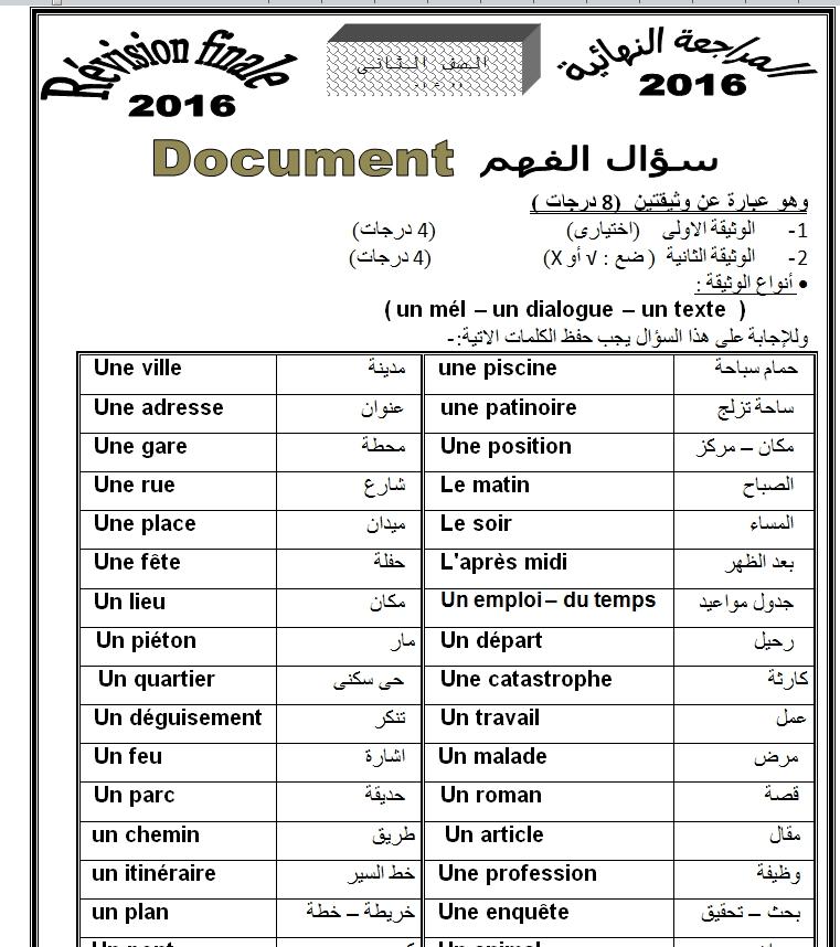 مراجعة ليلة الامتحان اللغه الفرنسية للصف الثاني الثانوى الترم الأول والثاني 2021