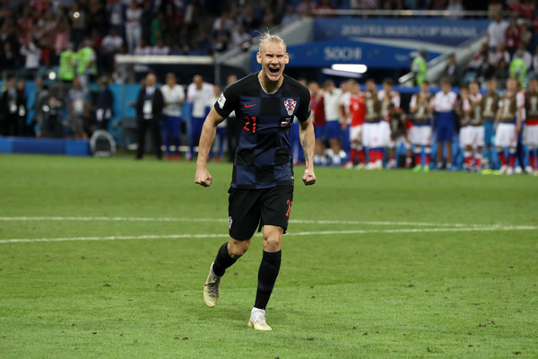Domagoj Vida of Croatia celebrates scoring his team's fourth penalty in the penalty shoot out during the 2018 FIFA World Cup Russia Quarter Final match between Russia and Croatia at Fisht Stadium on July 7, 2018 in Sochi, Russia.